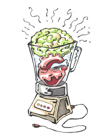 Hand drawn vector illustration or drawing of aheart and a brain in a shaker
