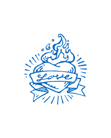 ribon: Hand drawn vector illustration or drawing of a heart on fire flames and a ribon that says: Love Illustration