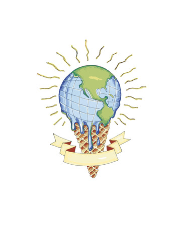 Hand drawn vector illustration or drawing of a cone with a melting world instead of ice cream, representing global warming