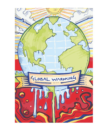 Hand drawn vector illustration or drawing of a melting world representing global warming