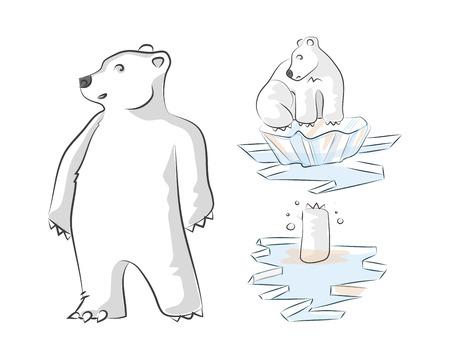 Hand drawn vector illustration or drawing of a polar bear in a melting polar landscape Reklamní fotografie - 35642606