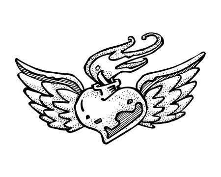 hand drawn wings: Hand drawn vector illustration or drawing of a heart with wings and fire flames Illustration