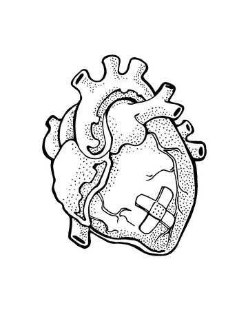 Hand drawn vector illustration or drawing of a heart Ilustração