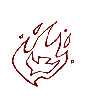 drawing dove: Hand drawn vector illustration or drawing of a dove on fire flames representing the Holly Spirit