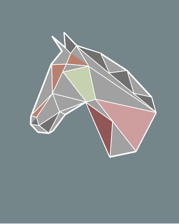 Hand drawn vector illustration or drawing of a geometric polygonal horse