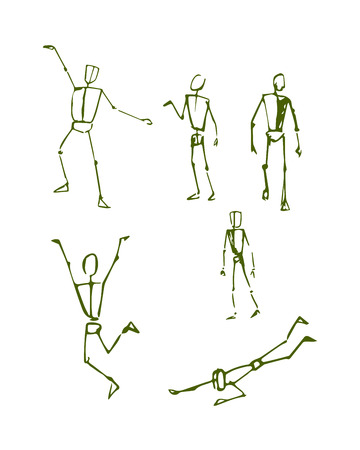 how to: Hand drawn vector illustration or drawing of different human figure sketches