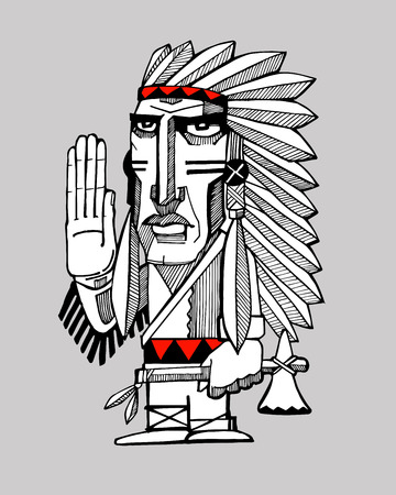 Hand drawn vector illustration or drawing of an indian apache chief