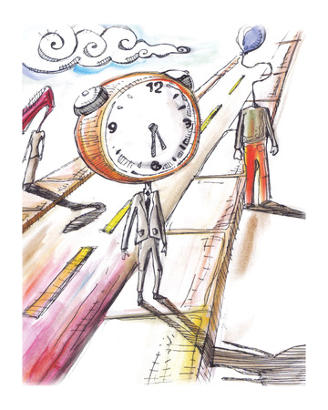 Hand drawn vector illustration or drawing of a man in suit and with a clock instead of head