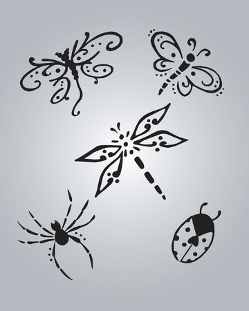 Hand drawn vector illustration or drawing of some insects Ilustração