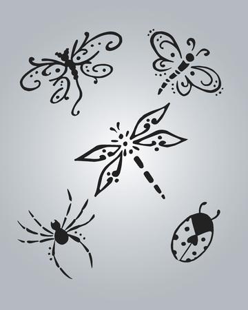 Main illustration tirée de dessin vectoriel ou de certains insectes Banque d'images - 35628366