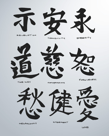 Hand drawn vector illustration or drawing of some japanese symbols Stock Illustratie