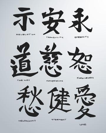 Hand drawn vector illustration or drawing of some japanese symbols Illustration