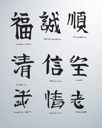 Hand getrokken vector illustratie of het trekken van een aantal japanse symbolen