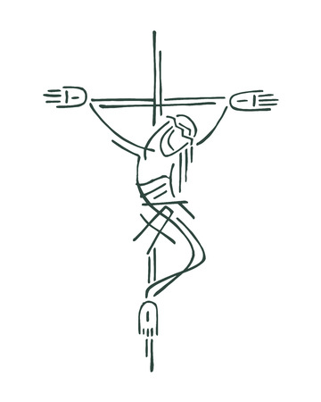 Hand drawn vector illustration or drawing of Jesus on the Cross Vectores
