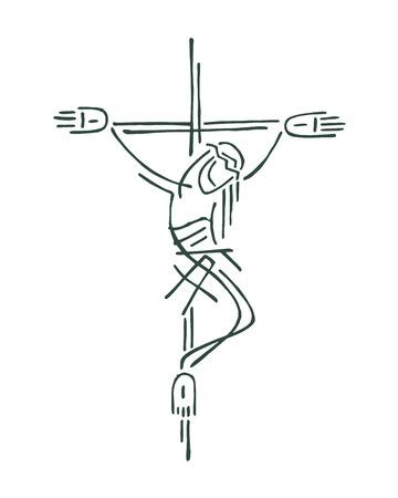 Hand getrokken vector illustratie of tekening van Jezus aan het kruis Stockfoto - 35615275