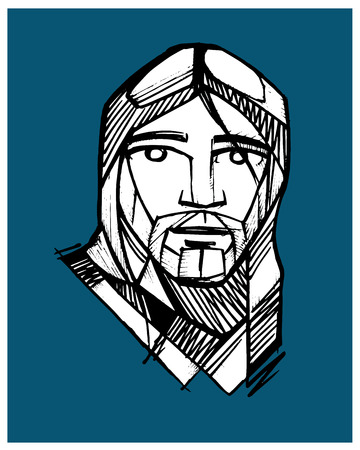 jesus face: Hand drawn vector illustration or drawing of Jesus face