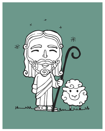 Hand drawn vector illustration or drawing of a Jesus Good Sheperd in a cartoon style Illustration