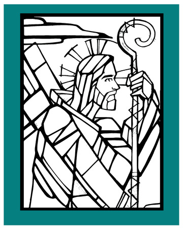 Hand drawn vector illustration or drawing of a Jesus Good Shepherd