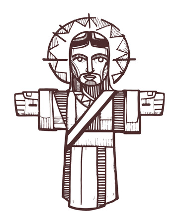 Hand drawn vector illustration or drawing of Jesus with open arms