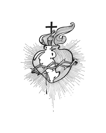 fire heart: Hand drawn vector illustration or drawing of a Jesus Sacred Heart