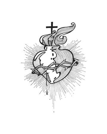 dessin coeur: Hand drawn vector illustration ou un dessin d'un Sacr� C?ur de J�sus