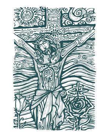 sol y luna: Dibujado a mano ilustración vectorial o el dibujo de Jesús en la Cruz