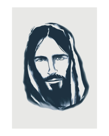 Hand drawn vector illustration or drawing of a Jesus face Vettoriali