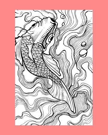 手描きのベクトル図または koi の魚の図面