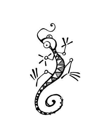 手描きベクトル イラストや漫画トカゲの図面
