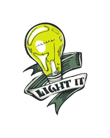 Hand drawn vector illustration or drawing of a light bulb with a ribbon and the phrase: Light it