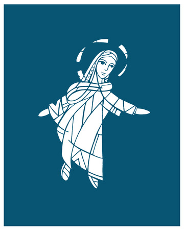 Hand drawn vector illustration or drawing of a Virgin Mary Vettoriali