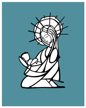 Hand drawn vector illustration or drawing of a Mother Virgin Mary carrying a baby Jesus Çizim