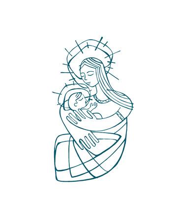 手描きベクトル イラストや図面、赤ちゃんイエス ・ キリストを運ぶ母聖母マリア