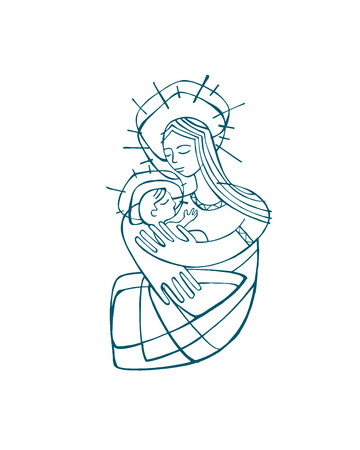Hand drawn vector illustration or drawing of a Mother Virgin Mary carrying a baby Jesus Illustration