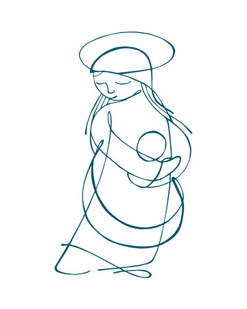 Hand drawn vector illustration or drawing of Virgin Mary carrying a baby Jesus