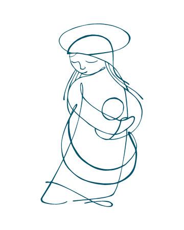 Exceptionnel Hand Drawn Illustration Ou Dessin De La Vierge Marie Mère Et L  VV56