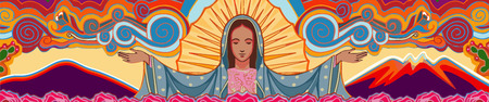 Hand drawn vector illustration or drawing of Mary Virgin of Guadalupe