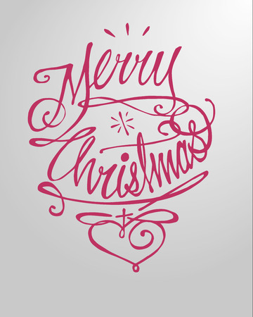 Hand drawn vector illustration or drawing of the phrase: Merry Christmas and a heart, in a handwritten style