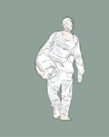 migrant: Hand drawn vector illustration or drawing of a migrant man with a backpack