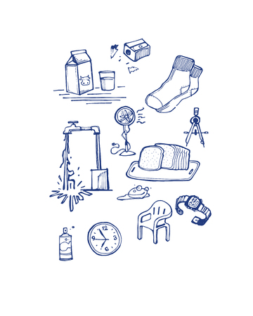 Hand drawn vector illustration or drawing of some misc items or objects