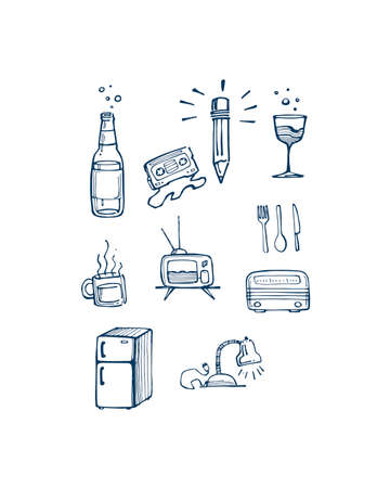 antena: Hand drawn vector illustration or drawing of some misc items or objects