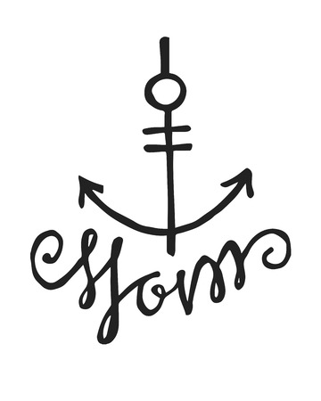 Hand drawn vector illustration or drawing of an anchor and the word: Mom, in a handwritten style