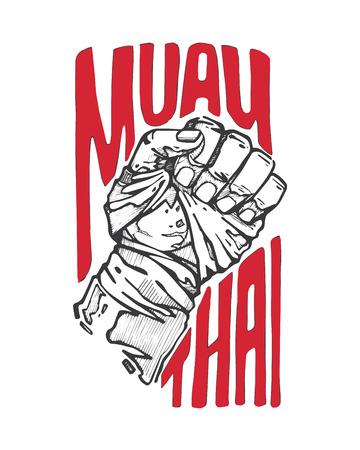 Disegnata a mano illustrazione vettoriale o disegno di un pugno e le parole: Muay Thai Archivio Fotografico - 35643201