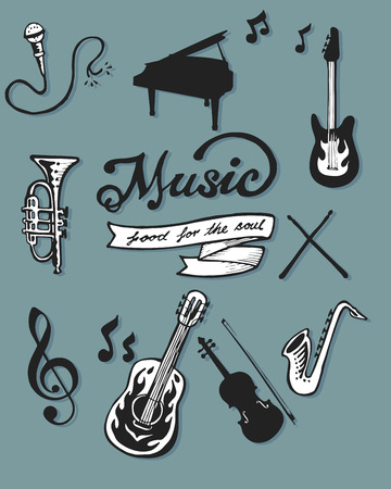 Hand drawn vector illustration or drawing of some music items Vector