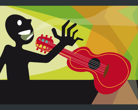 Hand drawn vector illustration or drawing of a guitar player Фото со стока - 35643203