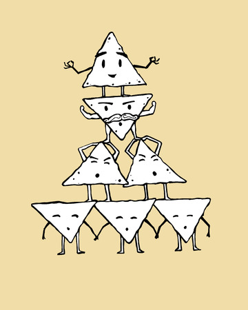 nachos: Hand drawn vector illustration or drawing of some nachos characters in a cartoon style Illustration