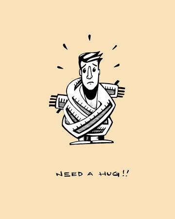 Hand drawn vector illustration or drawing of a man that needs a hug Illusztráció