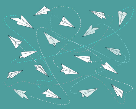 Hand drawn vector illustration or drawing of a paper planes pattern or background