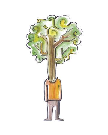 인내: Hand drawn vector illustration or drawing of a man with a tree instead of head, representing patience 일러스트
