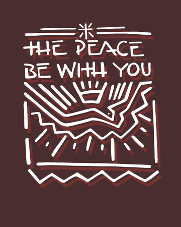 Hand drawn vector illustration or drawing of a Dove representing the Holly Spiritu, and the phrase: The peace be with you Ilustração